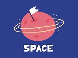 Hand gezeichneter Planet mit Orbit Doodle. flache Cartoon-Stilikone. Dekorationselement lokalisiert auf weißem Hintergrund. flaches Design. Vektor. vektor