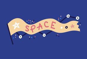rymdvektorillustration. en handritad flagga med ordet mellanslag skrivet på. stjärnor och konstellationer i klotterstil. dagboksklistermärke vektor