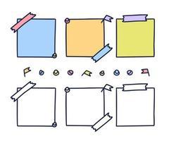 buntes handgezeichnetes Briefpapier. Papierblatt gesetzt im Gekritzelstil lokalisiert auf weißem Hintergrund, Stücke von Pastellnotizbuchseiten, Notizblockaufklebervektorillustration