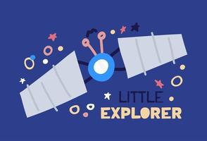 Karikatur flacher Satellit, der mit Sternenhimmel hochfliegt. flache Vektorillustration mit kleinem Entdecker des Textes auf blauem Hintergrund. vektor