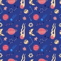 Raumvektor nahtloses Muster von Planeten, Bahnen, fliegenden Untertasse, Sternen. Cartoon flacher Stil Kosmos Hintergrund. Vektorillustration. Cartoon-Ikonen.