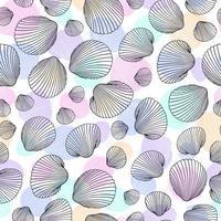 nahtloses Schalenmuster. Vektorillustration von handgezeichneten Muscheln im Gekritzelstil. Stranddesign.
