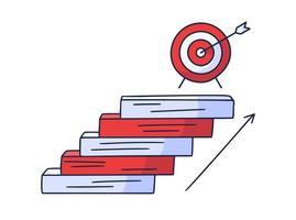 tritt auf das Ziel zu. Vektor Gekritzelillustration gezeichnet von Hand mit Stufen oder Treppen, auf denen ein Symbol des Ziels und des Pfeils ist. der Weg zum Erfolg und zum Erreichen von Zielen