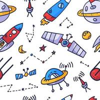 Raum nahtloses Musterdruckdesign. Gekritzel Vektor-Illustration Design für Mode Stoffe, Textilgrafiken, Drucke. vektor