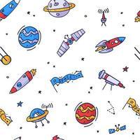 utrymme sömlösa mönster tryck design. doodle vektor illustration design för modetyger, textil grafik, utskrifter.