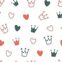 handritad sömlösa mönster med doodle kronor. söt bebis och liten prinsessedesign. barnrums tapeter och klädstruktur. vektor