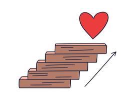 tritt ans Herz. Vektor Gekritzelillustration gezeichnet von Hand mit Stufen oder Treppen, auf denen ein Symbol des Herzens ist. der Weg zum Erfolg und zum Erreichen von Zielen
