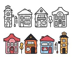 dekorativt skandinaviskt radhusskylt. doodle vektor pack med ikoner. uppsättning hus med takfönster och dörr. handritad vektorillustration