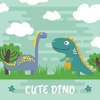 Gullig Dino Vector Illustration