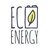 miljö- eller grön energi. bokstäver grön energi med ett batteri och ett blad. vektor illustration i doodle stil