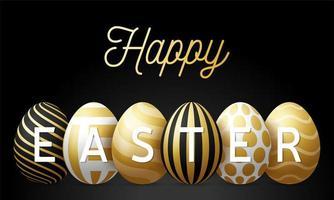 lyxig lycklig påskhälsningskortvektorillustration. en horisontell banner av svart med gyllene texturerade ägg som står i rad