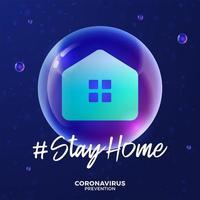 futuristischer Aufenthalt zu Hause während des Coronavirus-Ausbruchs. Konzeptprävention Covid-19-Krankheit mit Viruszellen, glänzende realistische Kugel auf blauem Hintergrund