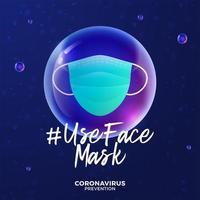 futuristische Verwendung Gesichtsmaske während Coronavirus-Ausbruch Konzept. Konzeptprävention Covid-19-Krankheit mit Viruszellen, glänzende realistische Kugel auf blauem Hintergrund