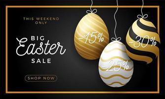 Luxus Osterei Verkauf horizontale Banner. goldene Osterrahmenkarte mit realistischen Eiern, die an einem Faden hängen, Gold verzierte Eier auf schwarzem modernem Hintergrund. Vektorillustration