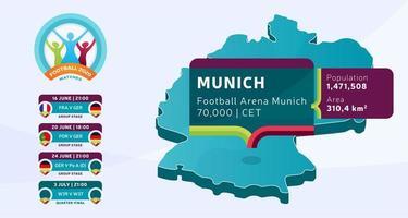 isometrische deutschland landkarte markiert in münchen stadion, das fußballspiele vektorillustration gehalten wird. Infografik und Länderinformationen zur Endphase des Fußballturniers 2020 vektor