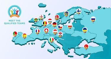 EM 2020 fotbollsmästerskap vektorillustration med en karta över Europa med markerade länder flagga som kvalificerade sig till slutskedet och logotyp tecken på vit bakgrund vektor