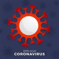 Golf Vektor Zeichen Vorsicht Coronavirus. Stoppen Sie den Covid-19-Ausbruch. Coronavirus-Gefahr und Risiko für die öffentliche Gesundheit Krankheit und Grippeausbruch. Absage von Sportveranstaltungen und Spielkonzept