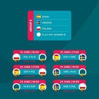 Fußball 2020 Turnier Endphase Gruppe E Vektor Lager Illustration mit Spielplan. Europäisches Fußballturnier 2020 mit Hintergrund. Vektor-Länderflaggen