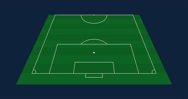 halber grüner Grasvektorfußball oder Fußballfeldhintergrund. Lager Vektor-Illustration eines Fußballfeldes mit Frontperspektive