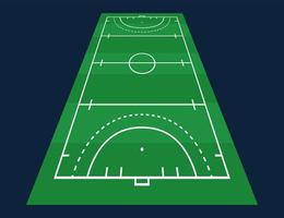 Perspektive flaches grünes Feld Hockey Gras. Hockeyfeld mit Linienschablone. Vektorstadion. vektor