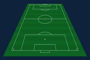 grüner Grasvektorfußball oder Fußballfeldhintergrund. Lager Vektor-Illustration eines Fußballfeldes mit Frontperspektive