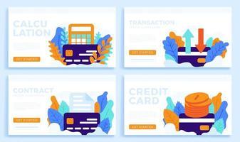 Stellen Sie Kreditkartenvektor-Lagerillustration lokalisiert auf einem weißen Hintergrund für Zielseite oder Präsentation ein. Taschenrechner, Überweisung, Dokument und Geldmünze