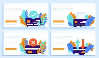 Stellen Sie Kreditkartenvektor-Lagerillustration für Landingpage oder Präsentation ein. akzeptierte Zahlung, abgelehnte Zahlung, Überweisung und Schutz