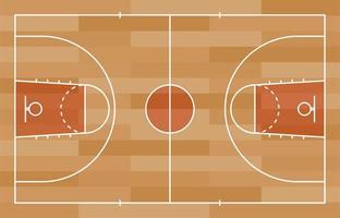 basketplan golv med linje på trä textur bakgrund. vektor illustration