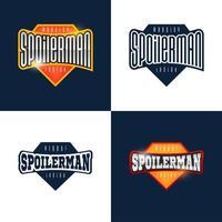 spoilerman alert rolig slogan. sport stil emblem typografi. superhjältspoiler man logotyp klistermärke för din t-shirt, tryck, kläder vektor