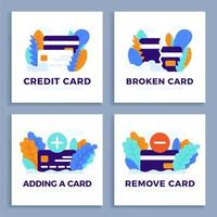 ställa in kreditkortsvektorillustration för målsida eller presentation. plus, minus-knapp, nytt och trasigt kort