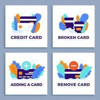 Stellen Sie Kreditkartenvektor-Lagerillustration für Landingpage oder Präsentation ein. Plus-, Minus-Taste, neue und kaputte Karte