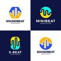 Set Audio Sound Wave Logo Vorlage Lager Vektor-Design. Linie abstrakte Musik Technologie Logo. digitales Element-Emblem, grafische Signalwellenform, Kurve, Lautstärke und Equalizer. Vektorillustration. vektor