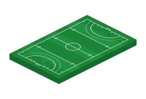 Isometrisk gräs hockey fält 3d. sport tema vektorillustration, hockeysportfält, stadion. isolerade redigerbara designelement för infographics, banner