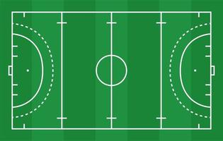 flaches grünes Feldhockeygras. Hockeyfeld mit Linienschablone. Vektorstadion. vektor