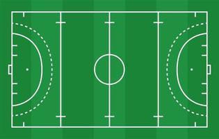 platt grönt fälthockeygräs. hockeyfält med linjemall. vektor stadion.