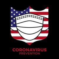banner ansiktsmask i sköld med usa flagg ikon förebyggande coronavirus. koncept skydd covid-19 tecken vektorillustration. covid-19 förebyggande design bakgrund.