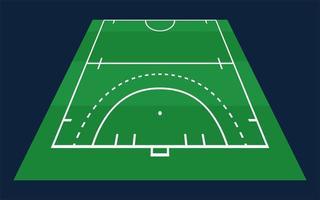 perspektiv platt grön halv fält hockey gräs. hockeyfält med linjemall. vektor stadion.