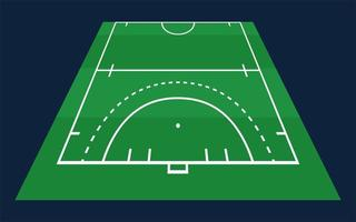 Perspektive flaches grünes Halbfeldhockeygras. Hockeyfeld mit Linienschablone. Vektorstadion. vektor
