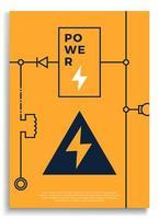 Stromabdeckung. abstrakte Technologie Leiterplatte, Spannungsschema Vektor Hintergrund Illustration. Plakat mit abstrakten Linienformen. Banner und Cover-Vektor-Illustration