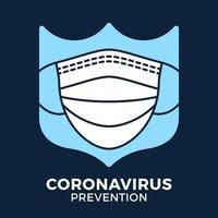 banner ansiktsmask i sköld ikon förebyggande coronavirus. koncept skydd covid-19 tecken vektorillustration. covid-19 förebyggande design bakgrund.