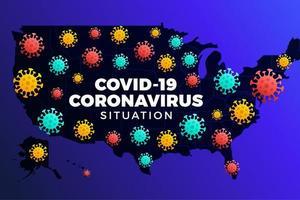 Covid-19 USA Karte bestätigte Fälle, Heilung, Todesfälle weltweit. Coronavirus-Krankheit 2019 Situations-Update weltweit. Amerika Karten und Nachrichten Schlagzeile zeigen Situation und Statistiken Hintergrund vektor