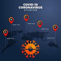 covid-19, covid 19-karta med infografisk rapport över hela världen. coronavirus sjukdom 2019 situation uppdatering över hela världen. kartor infografiskt område visar situationen i världen. flyg avbröts med vanlig