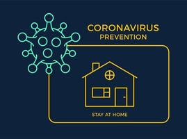 banner stanna hemma ikon förebyggande coronavirus. koncept skydd covid-19 tecken vektorillustration. covid-19 förebyggande design bakgrund. vektor
