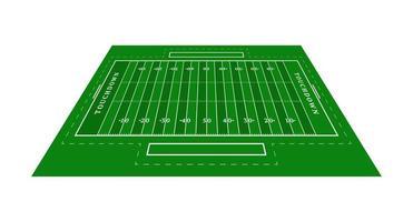 perspektiv grön amerikansk fotbollsplan. vy ovanifrån. rugby fält med linjemall. vektor illustration stadion.
