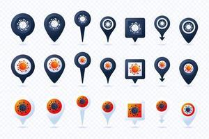 Big Set Pin mit Coronavirus in sieben Stilen und drei Farben. Coronavirus 2019-ncov epidemisches Infografik-Element. Auswirkungen von Coronavirus covid-19. vektor