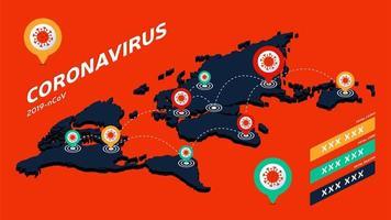 covid-19, covid 19 isometrische Weltkarte bestätigte Fälle, Heilung, Todesfälle weltweit. Coronavirus-Krankheit 2019 Situations-Update weltweit. Karten zeigen Situation und Statistik Hintergrund vektor
