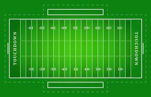 flaches grünes amerikanisches Fußballfeld. Draufsicht des Rugbyfeldes mit Linienschablone. Vektorstadion.