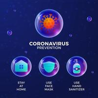 förebyggande av covid-19 allt i en ikon affisch vektorillustration. koronavirusskyddsblad med realistisk glansig bollsymbolsuppsättning. stanna hemma, använd ansiktsmask, använd handdesinfektionsmedel