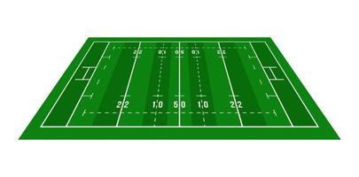 perspektiv grön rugby fält. vy ovanifrån. rugby fält med linjemall. vektor illustration stadion.