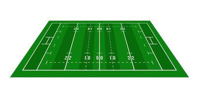 Perspektive grünes Rugbyfeld. von oben betrachten. Rugbyfeld mit Linienschablone. Vektor-Illustration Stadion.